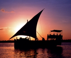 Sundowners on the dhow in Mida Creek
